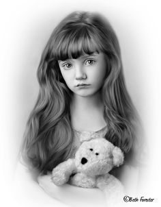 little girl with bear photo enhanced with corel painter