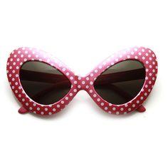 1950's Retro Womens Fashion Oversize Polka Dot Novelty Cat Eye... ($9.99) ❤ liked on Polyvore featuring accessories, eyewear, sunglasses, glasses, oversized cateye sunglasses, retro style sunglasses, polka dot glasses, retro eyewear and cateye sunglasses