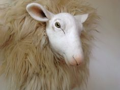 Van wol gemaakte schapenkop door Paulien Sijtsema-Poort