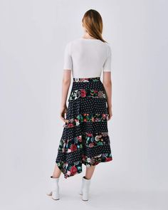 ae72792c3b Raven Floral Midi Skirt #colourful#black#slit | Fashion Casual Work in 2019  | Midi skirt outfit, Midi Skirt, Black midi skirt