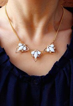 Trio Triangle Pale Blue Dewdrop Gem Necklace Arrow Necklace, Gold Necklace, Triangle, Gems, Blue, Jewelry, Accessories, Jewellery Making, Gemstones