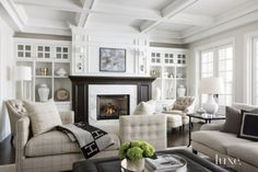 Balanced, layers living room, coffered ceiling | LuxeSource | Luxe Magazine - The Luxury Home Redefined
