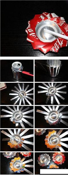 soda can art/diy Pop Can Crafts, Fun Crafts, Diy And Crafts, Arts And Crafts, Simple Crafts, Tin Can Art, Soda Can Art, Aluminum Can Crafts, Metal Crafts