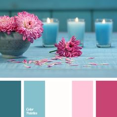 Gamma of rich pink shades (from fuchsia color to neutral pink) is supplemented with sky-blue and gray-white colors. This palette can be used in the festive