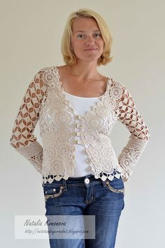 Crochet Cardigan from Natalia Kononova's blog - with diagrams and layout