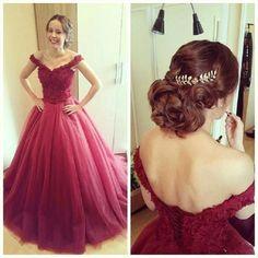 Buy Puffy Burgundy Long Prom Dresses Off The Shoulder Lace Up Back Princess Teens Party Dress Abiti da Ballo di Fine Anno on Suzhou Relia Formal Dress