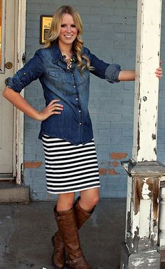 chambray shirt + striped skirt + brown boots /