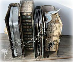 Handmade grunge book stack TUTORIAL, mini album, craft room storage, birthday, Christmas, masculine, https://www.youtube.com/watch?v=lIRn0s2uCMU
