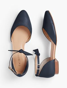 Edison Ankle-Strap D'Orsay Flats - Soft Napa Leather | Talbots - SB July 2017
