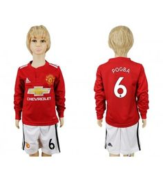 Manchester United Blank Home Long Sleeves Kid Soccer Club Jersey Paul Pogba, Kids Soccer, Manchester United, Chevrolet, Youth, The Unit, Graphic Sweatshirt, Sweatshirts, Long Sleeve