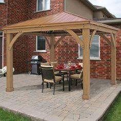 Metal Roof Gazebo Outdoor Aluminum Hardtop Patio Kits 12x12 Wooden Cedar Frame