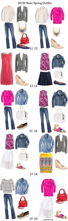I love what you can do with just a few well-chosen pieces! 20 basic spring outfits more here ->>> http://pinksole.com/2014/01/20-basic-spring-outfits/