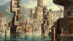 coastline city by shenfeic on deviantART Fantasy city Fantasy landscape City art