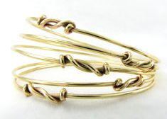 Boho Bracelet Set Of Five Knotted Brass Bracelets by Cuprum29, $22.00  #group2020