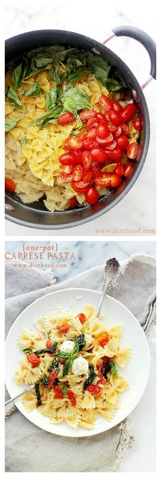 One Pot Caprese Pasta Dinner | www.diethood.com |The quickest, most delicious pasta dinner you will ever make! |