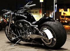 black, cool, motorcycle, wide, tire, bike