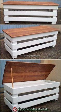 Dazzling Wooden Pallet Recycling Ideas - DIY Projects, Diy And Crafts, Besides setting your living room with the costly use of furniture design in it, you can create a wood pallet brilliant table with storage piece as at . Wood Pallet Recycling, Wooden Pallet Projects, Wood Pallet Furniture, Wooden Pallets, Furniture Projects, Diy Furniture, Furniture Design, Recycling Ideas, Diy Projects