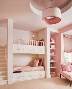 Beautiful Pink Theme Girls Bedroom THewowdecor We welcome you to our latest collection of 25 Unique Bunk Beds Design Ideas. Check out and get ready to see that wonderful smile on your child's face. Cute Bedroom Ideas, Cute Room Decor, Awesome Bedrooms, Cool Rooms, Bed Ideas, Bunk Bed Designs, Girl Bedroom Designs, Design Bedroom, Unique Bunk Beds