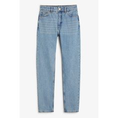 Kimomo mid blue x-long - Country blue - Jeans - Monki ❤ liked on Polyvore featuring jeans, ripped jeans, high waisted destroyed jeans, blue ripped jeans, torn jeans and high rise ripped jeans