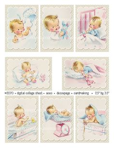 Digital Clipart instant download vintage baby card images Collage Sheet, Decoupage, Arts And Crafts Projects, Vintage Images, Vintage Cards, Baby Cards, Baby Booties, Digital Collage, Doll Patterns