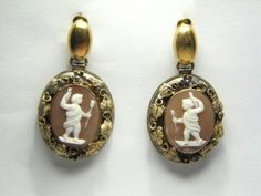 TERRIFIC ANTIQUE 15K GOLD CARVED SHELL CAMEO EARRINGS c1860 in Cameos | Buy Online at CJ Antiques
