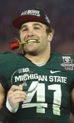 Michigan State middle linebacker Kyler Elsworth spent five years preparing for a career that in a manner of speaking consisted of one game. Elsworth got his first start in his last game as a Spartan in Wednesday's Rose Bowl against Stanford due to the suspension of Max Bullough. The fifth-year senior capitalized on his opportunity by making the leaping tackle of Cardinal fullback Ryan Hewitt for no gain on fourth-and-1 with 1:43 remaining to seal MSU's 24-20 victory.