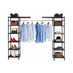 Organize your entire wardrobe with Seville Classics Expandable Closet Organizer System, a fully customizable closet organizer. Each unit comes with eight 18-inch by 14-inch shelves along with two cant