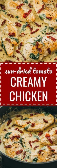 Creamy sun-dried tomato chicken with spinach and garlic: This chicken skillet dinner has garlic, sun-dried tomatoes, and spinach in a creamy buttery sauce. comfort foods / meals / gluten free / keto / low carb / diet / atkins / induction / meals / recipes / easy / dinner / lunch / foods / healthy / gluten free / paleo / tuscan / one pan / one pot / fried / simple / ideas / families / simple / dishes / cheesy / quick / parmesan / italian / whole / garlic