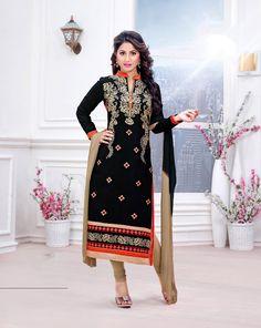 Hina Khan Black Cambric Cotton Churidar Suit 70265
