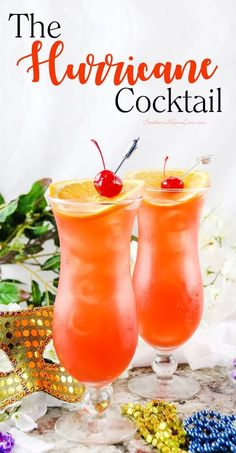 In honor of the upcoming Mardi Gras holiday I wanted to bring you a delish cocktail recipe to help you celebrate. If you've never had a Hurricane they are a gorgeous fruity and refreshing drink that was created in the city of New Orleans so is a very Refreshing Drinks, Summer Drinks, Cocktail Drinks, Cocktail Recipes, Fruity Alcoholic Drinks, Luau Drinks, Beverages, Fun Cocktails, Camping Snacks