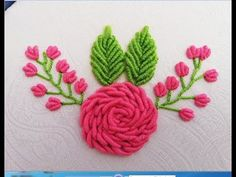 Hand Embroidery:Pink Roses with Bullion Knot Stitch Bullion Embroidery, Brazilian Embroidery Stitches, Ribbon Embroidery Tutorial, Hand Embroidery Videos, Hand Embroidery Flowers, Hand Embroidery Stitches, Free Machine Embroidery, Zardozi Embroidery, Hand Flowers