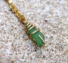 Sea Glass Necklace from Hawaii wire wrapped green seaglass pendant Hawaiian jewelry by Mermaid Tears seaglass jewelry sea glass necklace