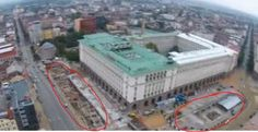 An aerial photo showing the major sections of the new open-air museum of Ancient Serdica in Sofia corresponding along the two main Roman streets. Photo: TV grab from BNT