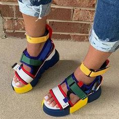 Descriptions: Upper Material:Faux Suede Toe:Open Toe Heel Height:Flat Heel Platform Toe Type:Round Toe Heel Type:Flat With Style:Casual Season:Summ Block Sandals, Strap Sandals, Nike Sandals, Gladiator Sandals, Roman Sandals, Flat Sandals, Sandals For Sale, Trendy Sandals, Sexy Sandals