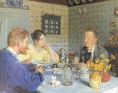 """P.S. Krøyer: """"Ved frokosten"""", 1893.  På maleri: P.S., Marie og forfatteren Otto Benzon"""
