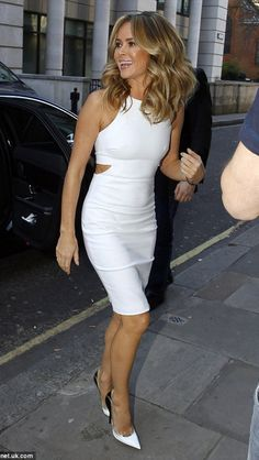 Amanda Holden shows off figure at Britain's Got Talent session White Cut Out Dress, Britain's Got Talent, Black And White Heels, Bollywood, Tv Presenters, Mode Outfits, Sexy Skirt, Sexy Dresses, Sexy Women
