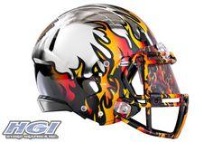 LA KISS HydroChrome® Flame Helmet finished by HGI Nfl Football Helmets, Arena Football, Hockey Helmet, Football Uniforms, Hydro Graphics, Helmet Paint, Clothing Logo, Fantasy Football, Sports Logo