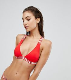 Free Society Red White Tape Bikini Top - Multi