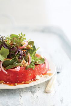 """Not your mother's fruit salad. A cold, thick, steak-like slice of ripe watermelon pairs unexpectedly well with salty Cotija cheese and a smoky vinaigrette. Also try it with leftover grilled chicken or beef.Recipe:Watermelon """"Steak"""" Salad  Cooking Video: Watermelon """"Steak"""" Salad"""