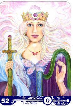 Queen of Swords from Aura-Soma Tarot
