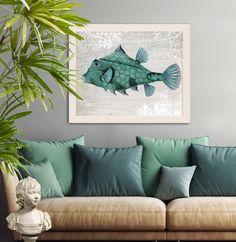 Turquoise Turret Fish Art Print - Nautical print, sea picture, beach decor, wall decor, marine painting, fish print, nautical picture