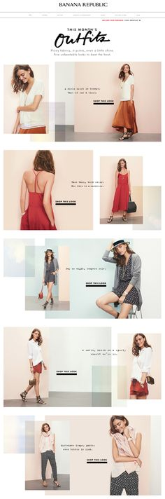 Banana Republic - pretty content layout with layered panels possible email design Email Layout, Web Layout, Layout Design, Mood Board Fashion, Editorial Design, Editorial Fashion, Banner Instagram, Lookbook Layout, Lookbook Design