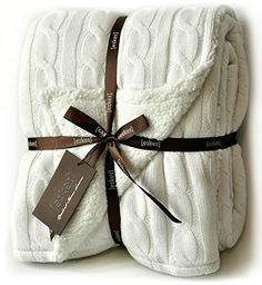 Enjoy exclusive for Cable Knit Sherpa Oversized Throw Reversible Blanket Faux Sheepskin Lined Cozy Cotton Blend Sweater Knitted Afghan Grey White Turquoise Blue (X-Large Off White) online - Tophitsfurniture Knitted Afghans, Knitted Blankets, Cable Knit Throw, Cozy Blankets, Grey And White, Reusable Tote Bags, Knitting, Sweety Pie, Amazon