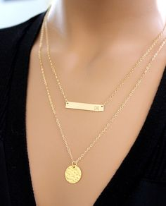 BIG SALE!! Gold Bar Necklace, Initial Bar Necklace, Personalized Jewelry, Bib, Nameplate bar, Name, Bridesmaid Gift, pendant, Monogram by BenyDesign on Etsy