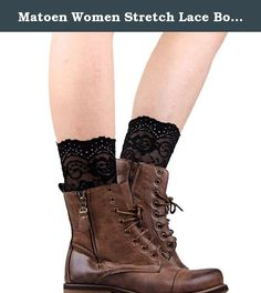 """Matoen Women Stretch Lace Boot Leg Cuffs Laced Boot Socks (Black). Description 100% brand new and high quality Style:Boot Cuffs Color:Hot Pink,Green,Black,White Material:Lace S:20-23cm/7.87-9.06"""" M:25-28cm/9.84-11.02"""" L:30-33cm/11.81-12.99"""" Our leg warmers are any boot's best friend. We love them with rain or ankle-length boots. You can Pair them with tights, leggings, skirts, skinny jeans for a sweet cozy look. Care: Hand wash cold and lay flat to dry Package 1 pair Bud silk stockings ."""