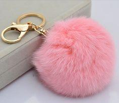 Pink Fur Pompom Keychain-FurPomPom Bag Charm PomPom Bag