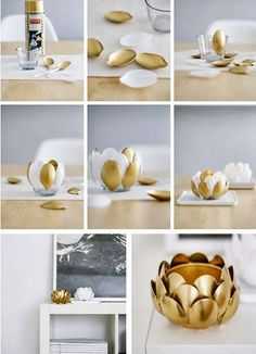 DIY Gold Candle Holder Made from Plastic Spoons