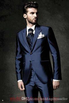 2015 hot sale Shiny Navy Blue Groom Tuxedos Peak Lapel Men's Suit Groomsman/Best Man Wedding/Prom Suits wedding (Jacket+Pants+Tie+Vest)
