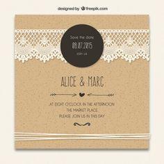 Convite do casamento de cartão com laçado decoração Vetor grátis