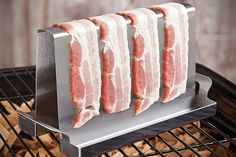 Turn your next barbecue into a full on bacon grilling factory with help from this specialized BBQ rack. The bacon grilling rack's angular design shortens. Bacon On The Grill, Cooking On The Grill, Camping Cooking, Camping Grill, Fire Cooking, Grill Rack, Bbq Grill, Cooking Bacon, Cooking Time